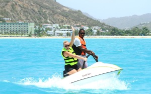 Laura Cotton thrills on the Water UFO in St. Maarten (Photo by Sean Drakes/Latin Content/Getty Images)