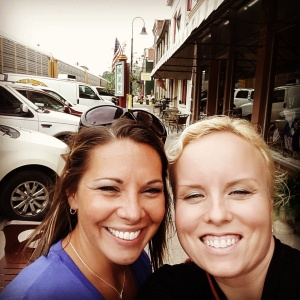 I couldn't resist sharing this picture of Kelly and I on Main Street LaGrange ... squinty eyes and all!